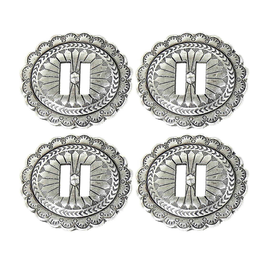 Set of 4 Large Silver Antiqued Slotted Concho 1-7/8″
