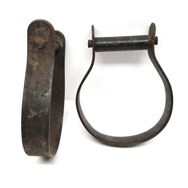 Antique forge iron horse saddle stirrups hill saddlery from the 1800's