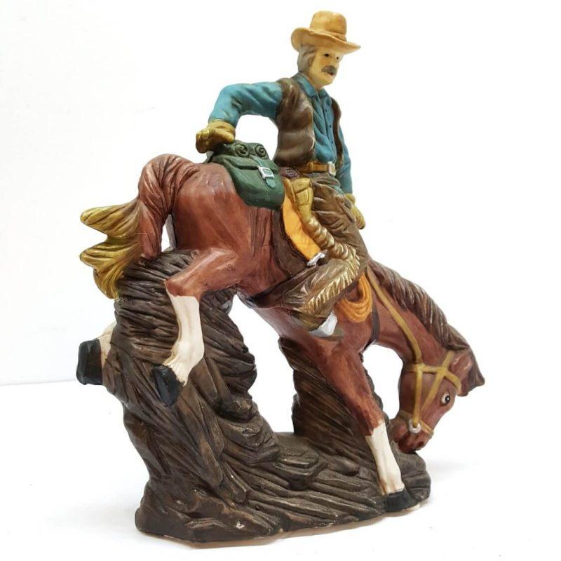 Vintage Signed Sunny Co Bronco Buster Western Horse Cowboy Sculpture 1993 Hill Saddlery